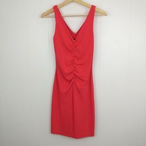 Nicole Miller Collection V Neck Front Ruched Dress